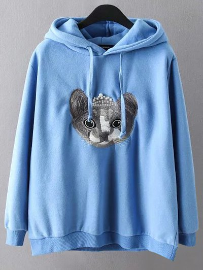 String Cartoon Embroidered Hoodie - BLUE 3XL Mobile