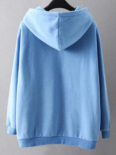 String Cartoon Embroidered Hoodie - BLUE XL Mobile