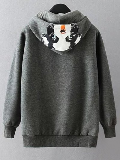 Casual Cartoon Print Hoodie - GRAY XL Mobile