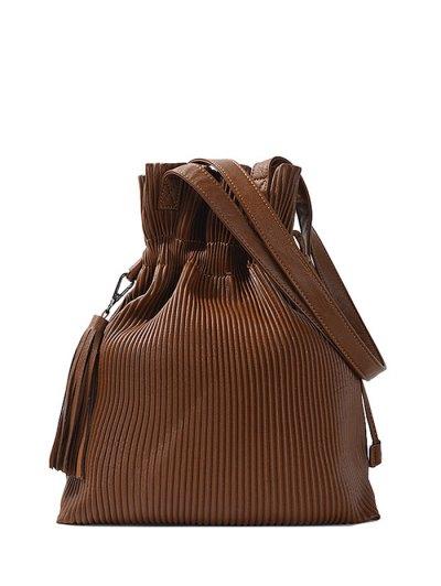 Tassel Ribbed Drawstring Shoulder Bag - BROWN  Mobile