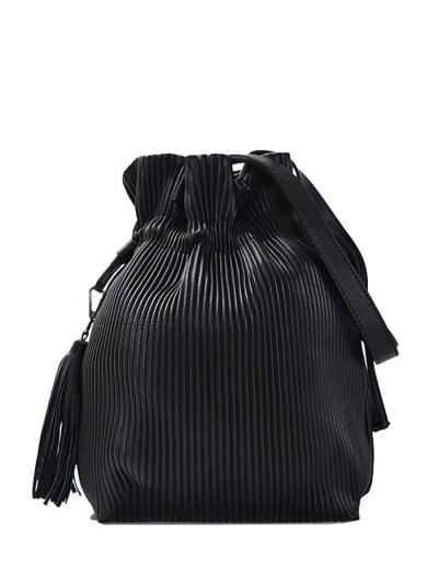 Tassel Ribbed Drawstring Shoulder Bag - BLACK  Mobile