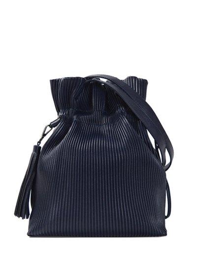 Tassel Ribbed Drawstring Shoulder Bag - DEEP BLUE  Mobile