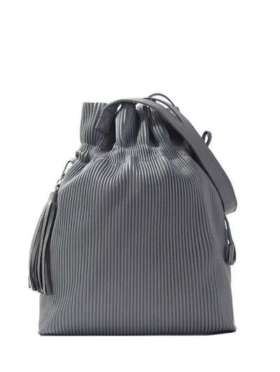 Tassel Ribbed Drawstring Shoulder Bag - GRAY  Mobile