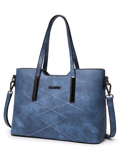 Stitching Metal Embellished Shoulder Bag - LIGHT BLUE  Mobile