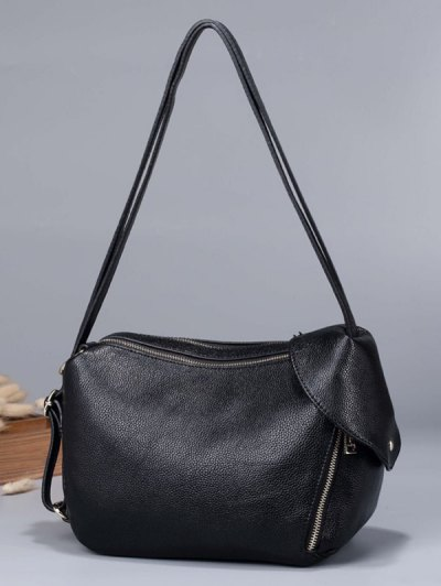 Convertible Textured PU Leather Shoulder Bag - BROWN  Mobile