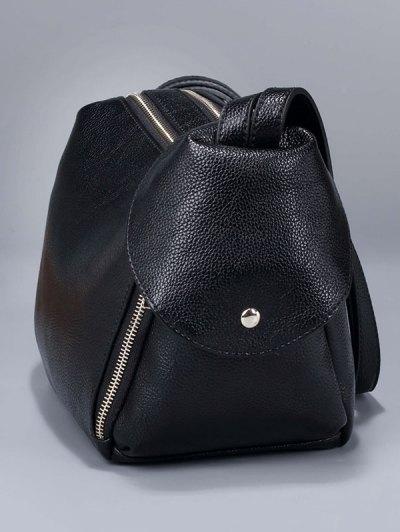 Convertible Textured PU Leather Shoulder Bag - BLUE  Mobile