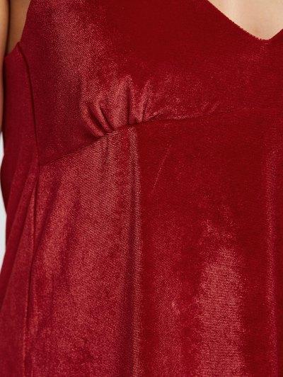 Velvet Cami Slip Dress - RED M Mobile