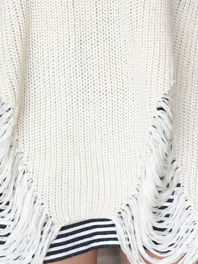 Loose High Low Ripped Pullover Sweater - GLITTER CREAMY WHITE XL Mobile