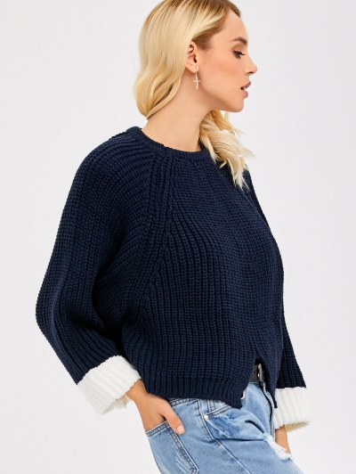 Color Block Batwing Sleeve Ribbed Sweater - PURPLISH BLUE ONE SIZE Mobile