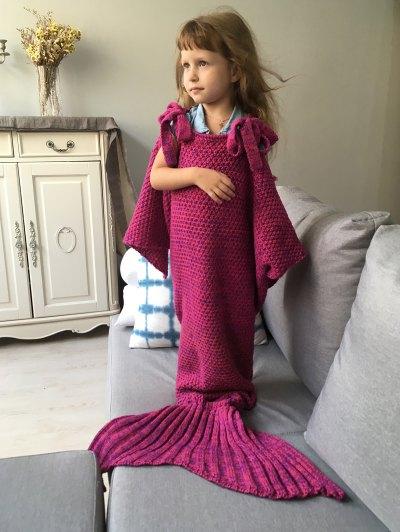 Sleeping Bag Knitted Mermaid Blanket - ROSE RED  Mobile