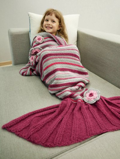 Knitted Sofa Mermaid Tail Blanket - RED  Mobile