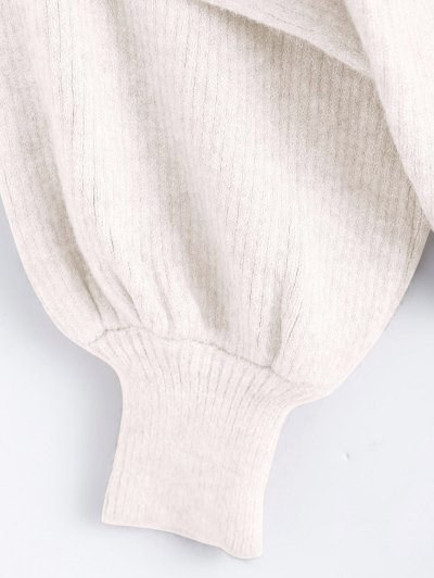 Ribbed Puff Sleeve Mock Neck Sweater - WHITE ONE SIZE Mobile