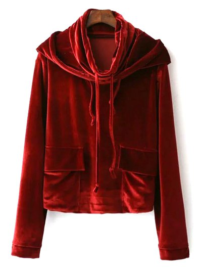Cropped Velvet Hoodie - WINE RED L Mobile