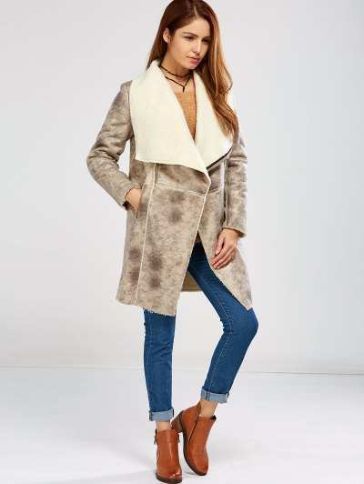 Fleece Lining Faux Suede Shawl Coat - GRAY M Mobile