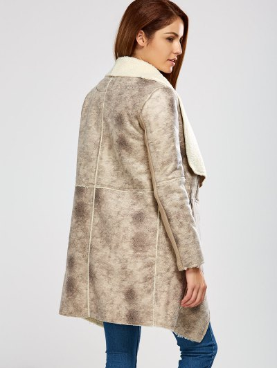 Fleece Lining Faux Suede Shawl Coat - GRAY S Mobile