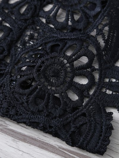 Crochet Flower Unlined Bra - BLACK L Mobile