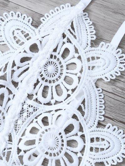 Crochet Flower Unlined Bra - WHITE M Mobile