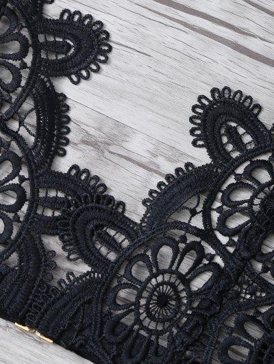 Crochet Flower Unlined Bra and Panty - BLACK L Mobile