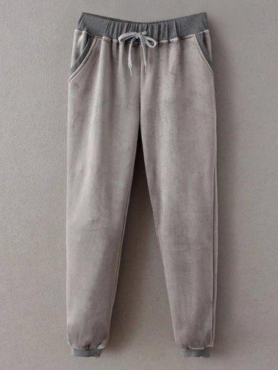 Embroidered Sweatshirt and Drawstring Gym Pants - GRAY M Mobile