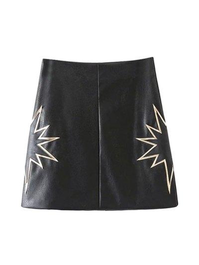 PU Printed A-Line Skirt - BLACK S Mobile