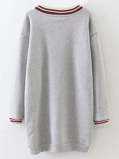 Loose Embroidered Long Sleeve Dress - GRAY L Mobile