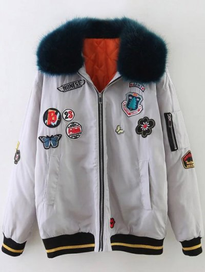 Furry Collar Patch Padded Bomber Jacket - SILVER XS Mobile