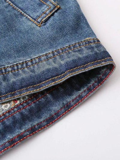 Pocket Embroidered Denim Jacket - BLUE L Mobile