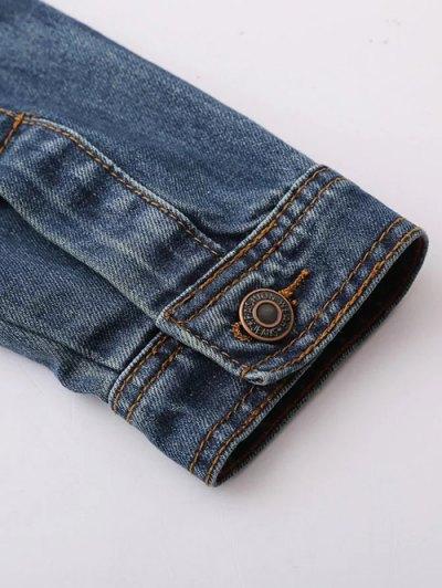 Pocket Embroidered Denim Jacket - BLUE M Mobile