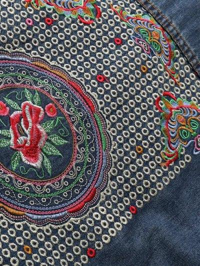 Pocket Embroidered Denim Jacket - BLUE S Mobile