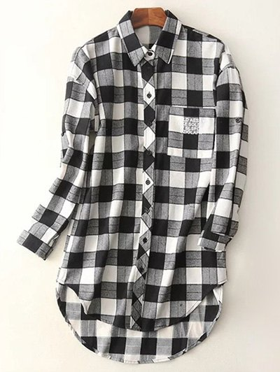 Letter Checked High-Low Shirt - BLACK M Mobile