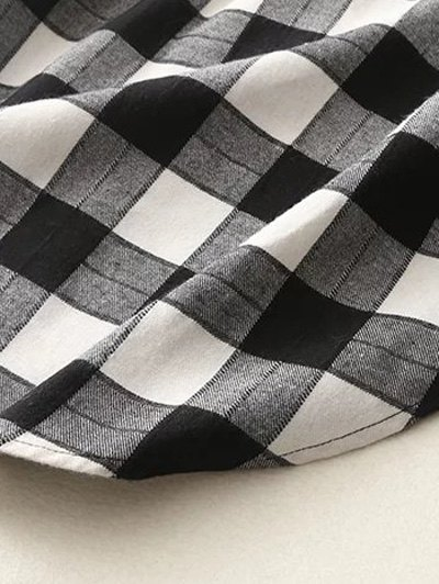 Letter Checked High-Low Shirt - BLACK L Mobile