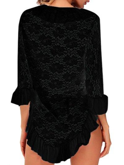 Ruffles Asymmetric Babydoll With T-Back - BLACK M Mobile