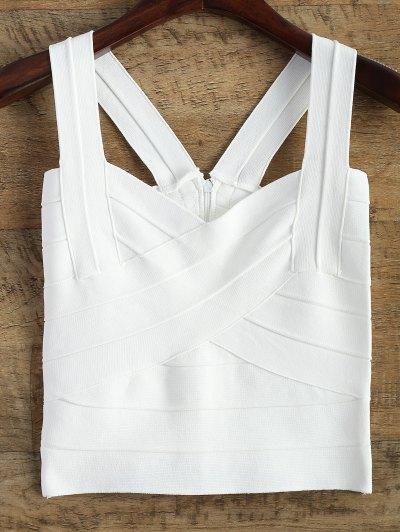Back Zipper Tank Top - White