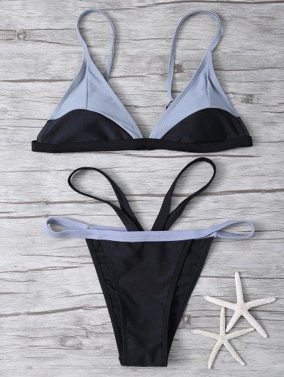 High Cut Color Block Bikini Set - BLACK M Mobile