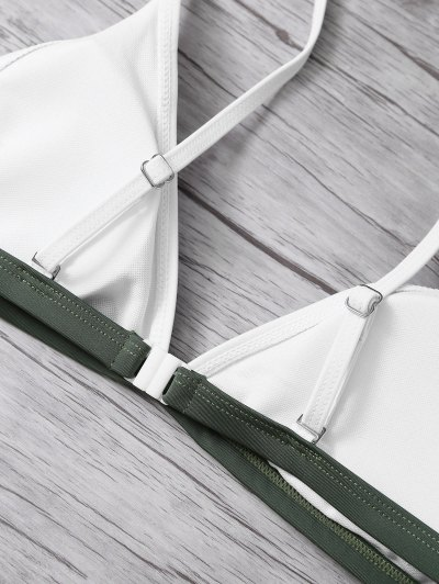 High Cut Color Block Bikini Set - ARMY GREEN L Mobile