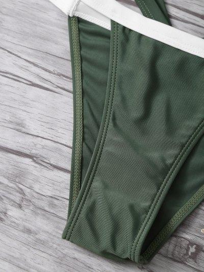 High Cut Color Block Bikini Set - ARMY GREEN M Mobile