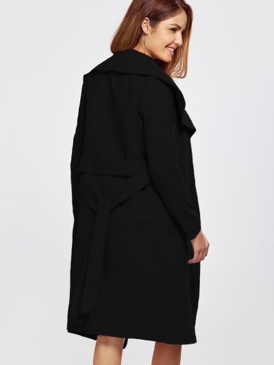 Shawl Collar Belted Wrap Coat - BLACK M Mobile