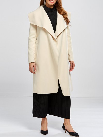 Shawl Collar Belted Wrap Coat - OFF-WHITE L Mobile