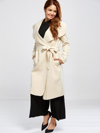 Shawl Collar Belted Wrap Coat - OFF-WHITE S Mobile