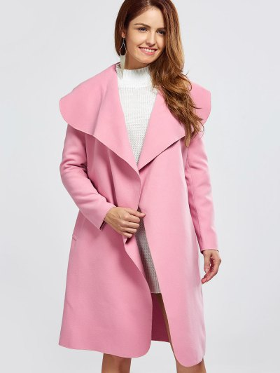 Shawl Collar Belted Wrap Coat - PINK M Mobile
