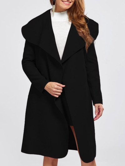 Shawl Collar Belted Wrap Coat - Black