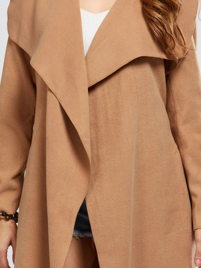 Shawl Collar Belted Wrap Coat - CAMEL M Mobile