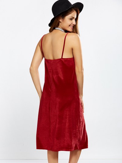 Velvet Cami Slip Dress - RED M Mobile