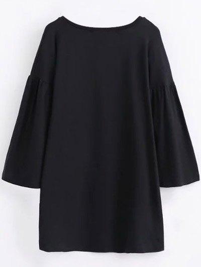 Round Collar Shift Dress - BLACK L Mobile