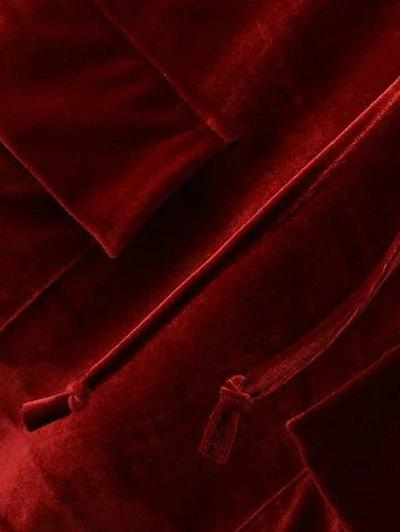 Cropped Velvet Hoodie - WINE RED L Mobile