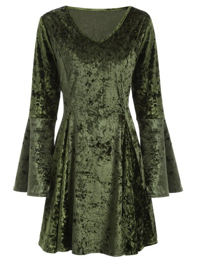 Bell Sleeve Velvet Fit and Flare Dress - GREEN L Mobile