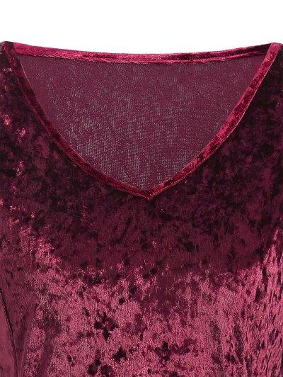 Bell Sleeve Velvet Fit and Flare Dress - BURGUNDY XL Mobile