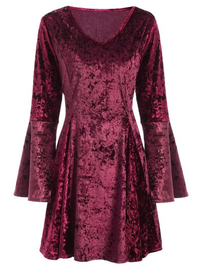 Bell Sleeve Velvet Fit and Flare Dress - BURGUNDY S Mobile