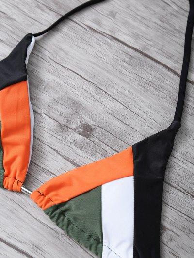Color Block Geometric Bikini Set - BLACK L Mobile