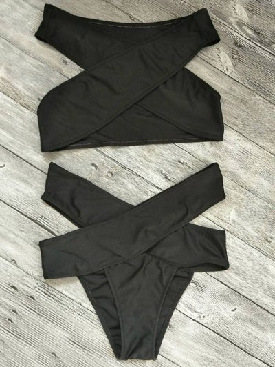 Cut Out Bandage Bikini Set - BLACK S Mobile